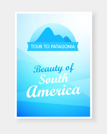 Travel flyer design with Emblem of Andes Mountains and Captions on beautiful background. Brochure headline for Travel and Tourism. Vector Modern flat design. Stock Photo