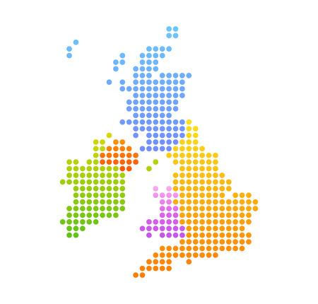 Map of United Kingdom and Ireland, Vector Colorful Illustration in dot style. Ilustração Vetorial