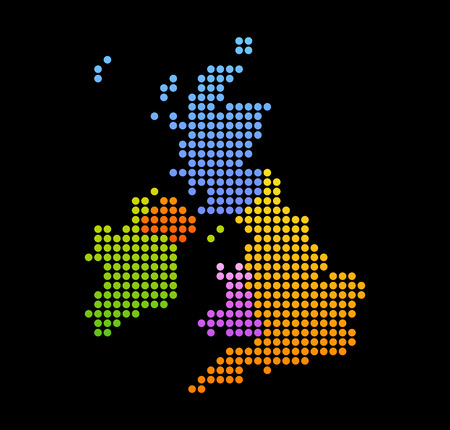 Map of United Kingdom and Ireland, Vector Colorful Icon isolated on Black Background.