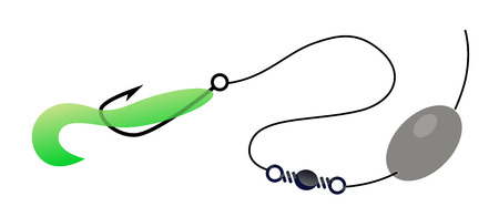 Carolina rigging for bass with Twister, Vector Illustration of Effective Fishing Bait.