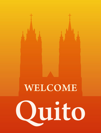 Basilica of the National Vow, Silhouette of Cathedral Towers in Quito, Ecuador. Vector welcome invite banner orange color.