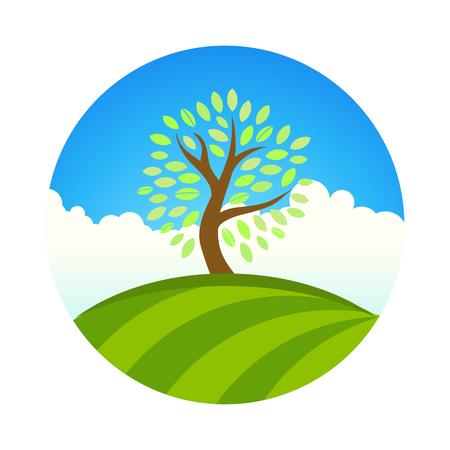 Logo con paesaggio di eco giardino o parco, albero sotto il cielo blu. Vector round illustrationof grazia, calma, dolcezza, tranquillità. Fattoria e raccolta di frutta naturale.