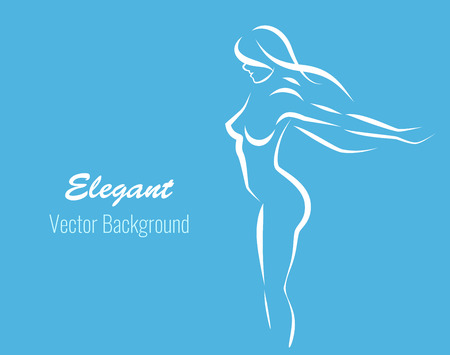 Line contour of girl white color - vector silhouette of beautiful young woman. Gent lady on the elegant vector background for Fitness center or beauty salon.