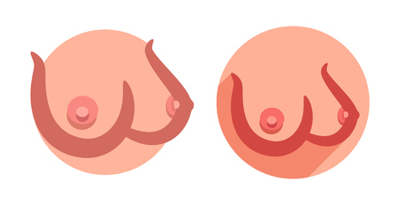 Big sexy boobs in flat style. Adult vector illustration with attractive realistic nude female breasts. The round emblem for adult shops and medical editions. Illustration