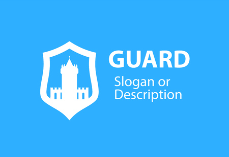 Blazon emblem with Shield and Stronghold castle - Vector respectable logotype emblem for business flat style. White medieval tower fortress isolated on white background. Illusztráció