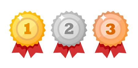 Insieme dell'icona di medaglia isolato su bianco - elementi di disegno vettoriale. Concorso oro, argento e bronzo Premi stile piatto.