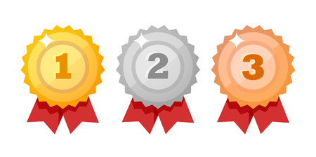 Medal icon set isolated on white - Vector design elements. Gold, silver and bronze competition Awards flat style. Illusztráció