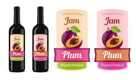 Vector Plum Jam sticker label isolated on white and trying on a bottle. A great option for home and batch production of wine and fruit jam.