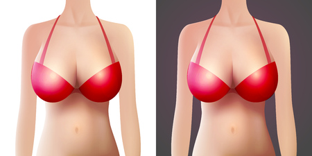 Vector female model with Red Bra. Woman with big breast for underwear store isolated on white and black background.