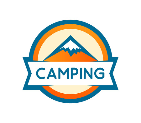 Vector badge round shape of Mountains Camping or Expedition isolated on white. Logo for travel camping, expedition and nature parks. Sticker or banner design template.