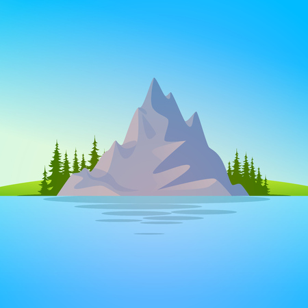 Vector Landscape illustration with Rock and Forest beyond the water. Scenic Nature environment at sunny day with copy space at up and down of composition.
