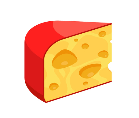 Cheese vector Icon, Triangle piece of diary product. Maasdam - popular swiss sort of Cheese illustration isolated on white.