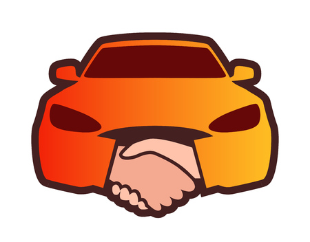 Colorful Print, element design for Logo of Dealership. Front view of Car with Handshakes. Orange colorful emblem on white background for Stickers, Logotype, Prints and Social media using.