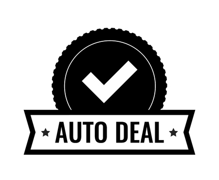 Round Badge with check mark - element design for illustration of Auto Dealership. Logo Design in black color isolated on white.