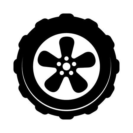 Wheel icon isolated on white background. Simple symbol for Dealership or Repair Service. Element design for logo, web and social media