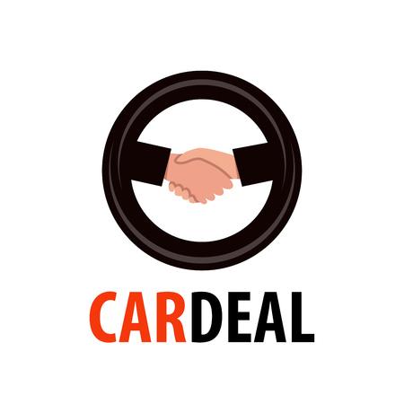Logo for Dealership. Handshake in wheel symbol illustrating deal of Auto Sale. Vector emblem isolated on white background.