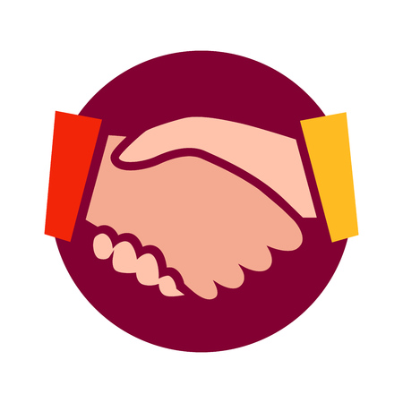 Handshake vector icon illustration isolated on white background. Symbol for Logotype in web and social media, stickers. Symbol illustrating Deal for business.