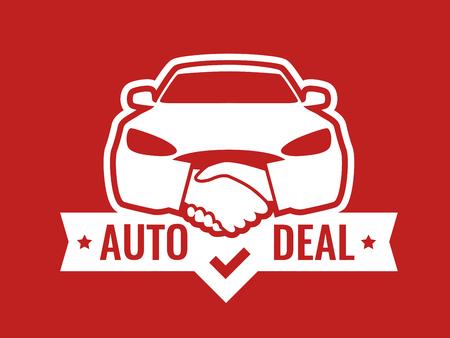 Auto Deal - Logo pour concessionnaire automobile. Vue de face de la voiture avec poignées de main - emblème créatif, insigne, autocollant, en-tête sur la couleur rouge. Logo