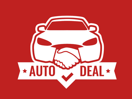 Auto Deal - Logo for car Dealership. Front view of Car with Handshakes - Creative Emblem, Badge, Sticker, Header on red color. Illustration