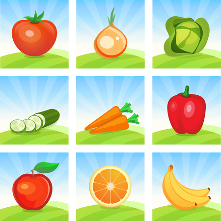 Vector Icon set of Vegetables and Fruits on Scenic landscape background. Cartoon illustrations for design of Emblems and promo for Harvesting and Trading of Vegetables, Menu of shops.