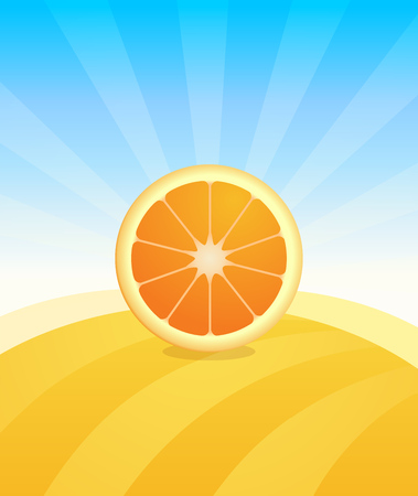 Banner template with Orange - Fruit trade poster. Ads Placard with copy space on top and bottom area. Symbol of juicy Fruit under blue sky. Colorful vector illustration.