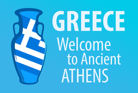 Greece, Welcome to Ancient Athens, Bright blue invitation banner with Traditional Wine Amphora and National Flag of Greece. Illustration