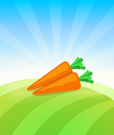 Banner template with Carrot - Vegetables trade poster. Ads Placard with copy space on top and bottom area. Symbol of ripe vegetable under blue sky. Colorful vector illustration.