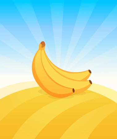 Banner template with Banana. Ads Poster with copy space on top and bottom area. Symbol of juicy Fruit under blue sky. Colorful vector illustration.