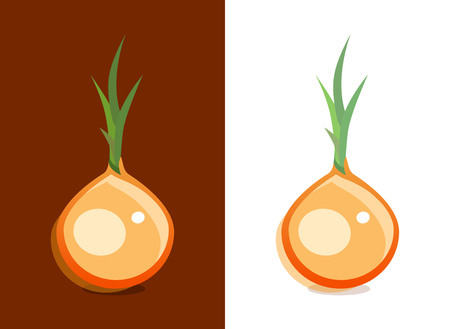 Vector Icon of Onion vegetable on dark and white background. Cartoon illustration for design of Emblems and promo for Harvesting and Trading of Vegetables. Illustration