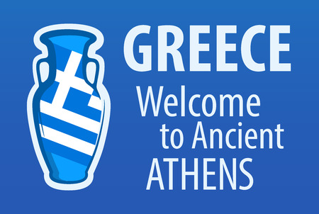 Greece, Welcome to Ancient Athens, Blue invitation banner with Traditional Wine Amphora and National Flag of Greece.