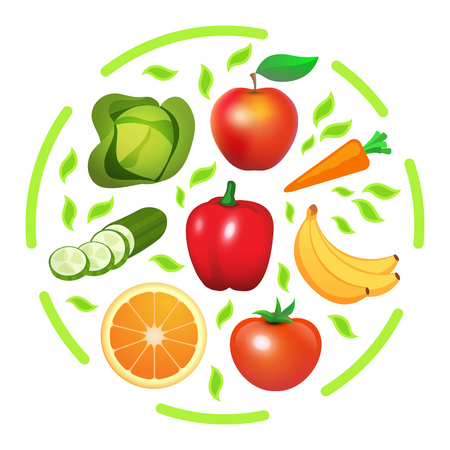 Vector round print with Vegetables and Fruits. Banner or element design for gardening and vegetable growing Web Site or Shop.