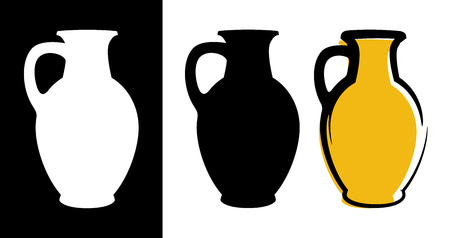 Vector amphora image in yellow color and silhouettes in white and black background isolated in flat style. Illustration of ancient greek clay urn. Çizim