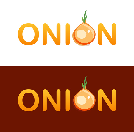 Vector creative Logotype design for trading onions vegetables. Character O included in Lettering of Onion logo. Emblem isolated on white and dark background.