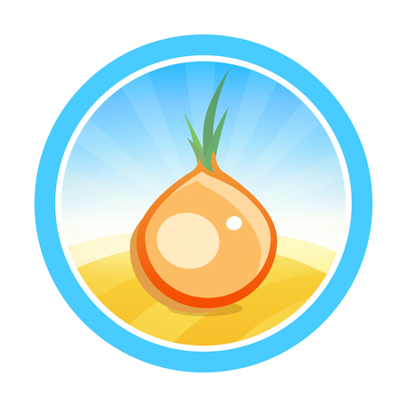 Round vector emblem for onion tradeing. Colorful symbol with vegetable on field isolated on white background