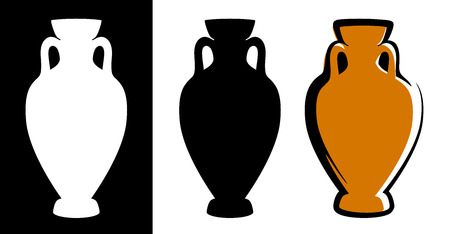 Vector amphora image in brown color and silhouettes in white and black background isolated in flat style. Illustration of ancient greek clay urn.