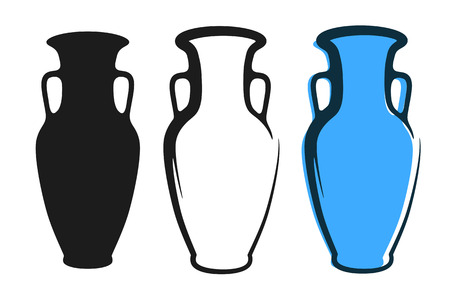 Vector amphora image in blue color and silhouettes in white and black background isolated in flat style. Illustration of ancient greek clay urn.