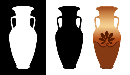 Vector greek amphora image and silhouettes in white and black background isolated. Illustration of ancient greek clay urns.