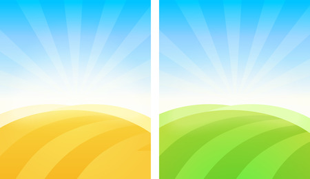 Colorful simple vector background of Fields in golden and green color. Illustration for decoration of agricultural events, poster, banner or article.