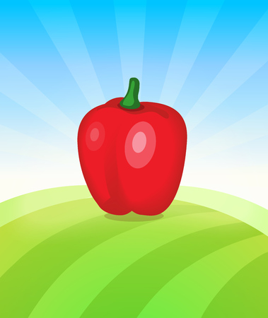 Banner template with Pepper - Vegetables trade poster. Ads Placard with copy space on top and bottom area. Symbol of ripe vegetable under blue sky. Colorful vector illustration. Иллюстрация