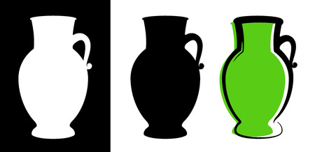 Vector amphora image in green color and silhouettes in white and black background isolated in flat style. Illustration of ancient greek clay urn.