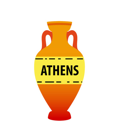 Vector greek amphora image isolated on white. Colorful ancient earthenware symbol. Çizim