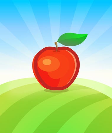 Banner template with Apple Fruit in Garden. Placard with copy space on top and bottom area. Symbol of juicy Fruit under blue sky. Colorful vector illustration.