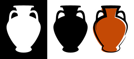 Vector ancient amphora image in burgundy color and silhouettes in white and black background isolated in flat style. Illustration of greek wine jug.