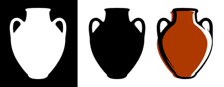 Vector ancient amphora image in brown color and silhouettes in white and black background isolated in flat style. Illustration of greek clay urn. Illustration