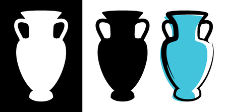 Vector amphora image in celadon color and silhouettes in white and black background isolated in flat style. Illustration of ancient greek clay urn. Illustration