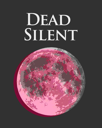 Dead Silent, Vector illustration with rose Full Moon with VHS distortion, creative vintage stylization. Иллюстрация