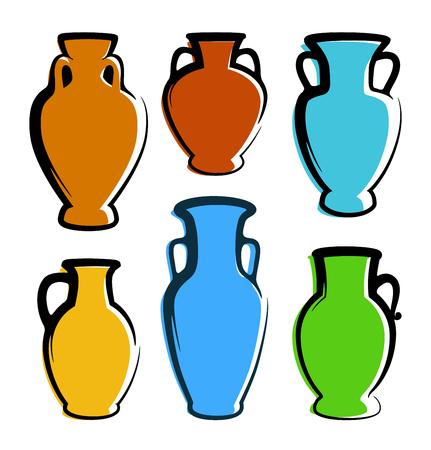 Multicolored Amphoras Icons - images with copy space. Decoration element for illustration of Wine production and sale of Drinks Çizim