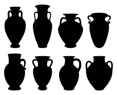 Vector Illustrations for wine production. Silhouettes of Greek Amphoras with copy space of earthenware ancient products from Greece. Иллюстрация