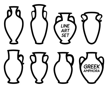 Vector Illustrations for wine production. Contour vector icon set of Greek Amphoras silhouettes with copy space of earthenware ancient products from Greece. Çizim