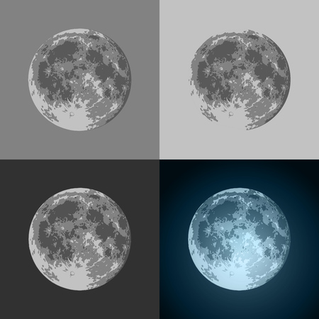 Set of Vector Full Moon icon on black and bright background. Prints for T-shirts or Creative Modern banners illustration.